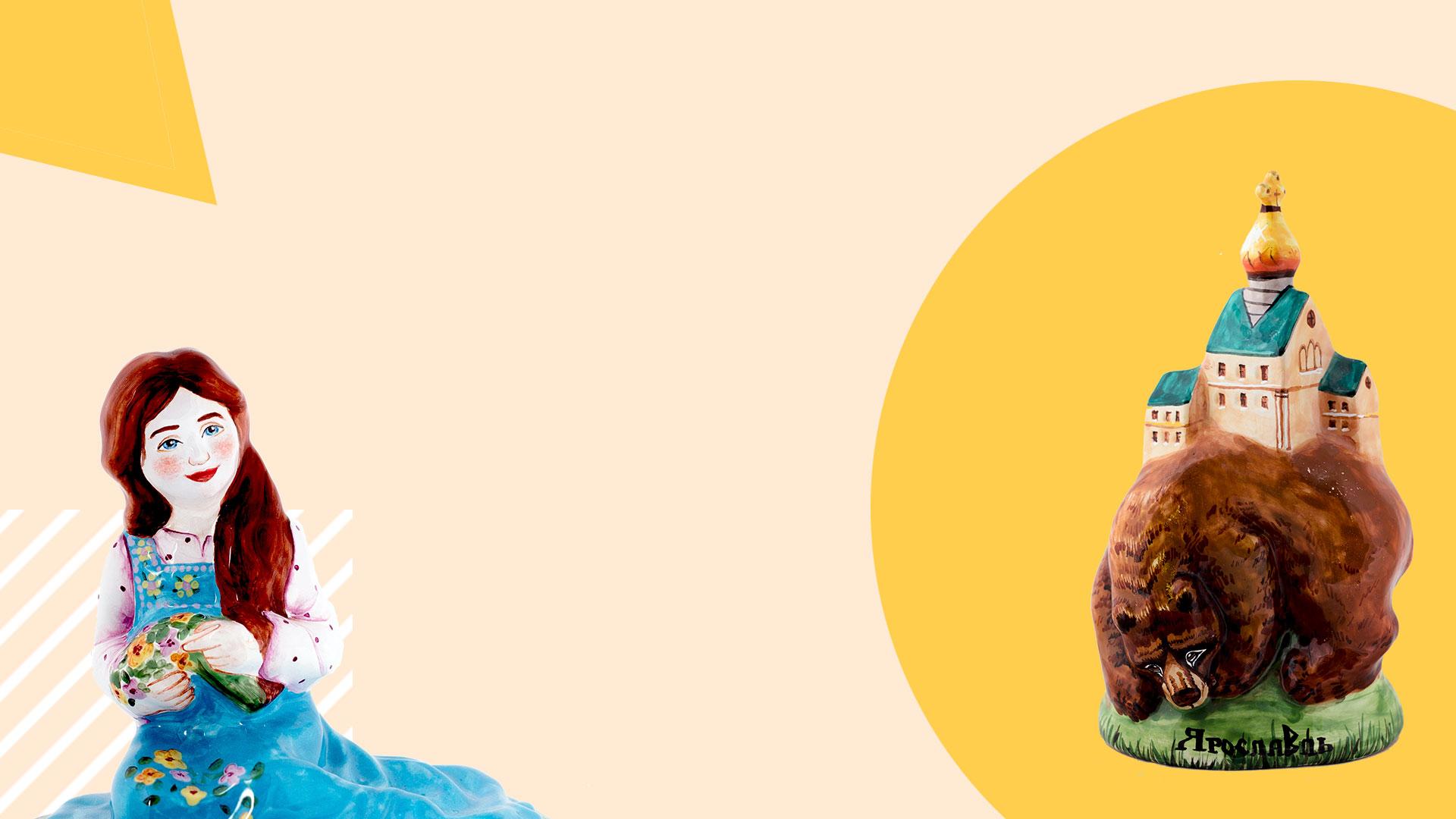 Изображение фигур девушки и медведя на абстрактном фоне в технике ярославская майоликаяросла